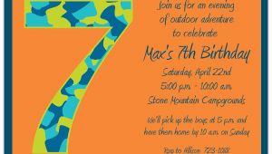 Birthday Invitation Wording for 7 Year Old Boy Birthday Boy Camo 7th Birthday Invitations Paperstyle
