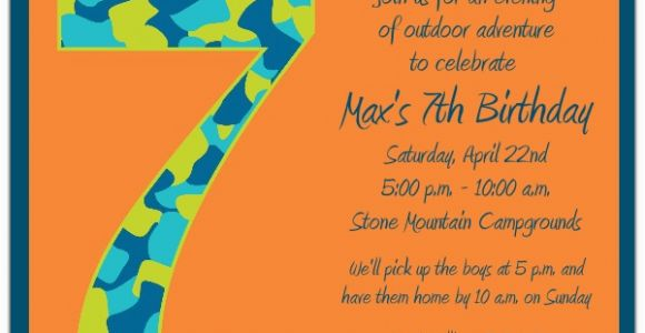 Birthday Invitation Wording For 7 Year Old Boy Camo 7th Invitations Paperstyle