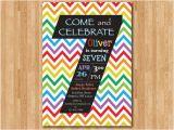 Birthday Invitation Wording for 7 Year Old Boy Rainbow 7th Birthday Invitation Colorful Chevron Birthday