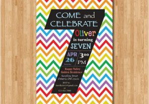 Birthday Invitation Wording For 7 Year Old Boy Rainbow 7th Colorful Chevron