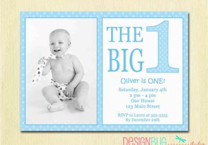 Birthday Invitations For 1 Year Old Boy The Big One First Baby Invitation Custom