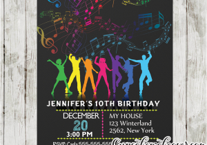 Birthday Invitations For 13 Year Old Boy Dance Party Rainbow Music Notes
