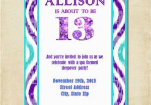 Birthday Invitations For 13 Year Old Boy Girl 13th Party Invitation Purple Aqua By