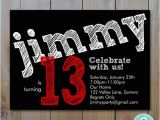 Birthday Invitations for 13 Year Old Boy Teen Boy 39 S Birthday Invitation Red Chalk Lettering
