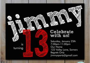 Birthday Invitations For 13 Year Old Boy Teen 39 S Invitation Red Chalk Lettering