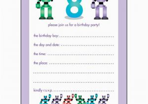 Birthday Invitations For 8 Yr Old Girl 10 Childrens Party Years Boy