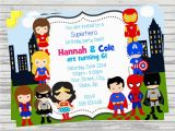 Birthday Invitations for Boy and Girl Boy and Girl Superheroes Twins Joint Party Custom Digital