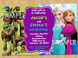 Birthday Invitations for Boy and Girl Double Birthday Invitation Tmnt and Frozen Printable