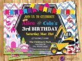 Birthday Invitations for Boy and Girl Princess and Construction Joint Birthday Party Invitation