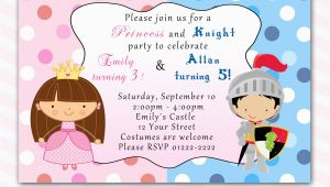 Birthday Invitations for Boy and Girl Princess Birthday Invitation Knight Polka Dots Siblings Boy