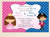 Birthday Invitations for Boy and Girl Princess Birthday Invitation Pirate Girl Boy Siblings Twins