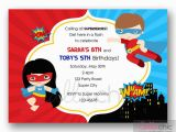 Birthday Invitations for Boy and Girl Superheroes Birthday Invitation Printable Twin Joint