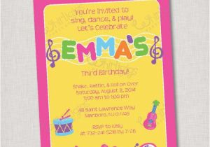 Birthday Invitations Free Shipping Music Party Invitation Printable Digital File Or Printed