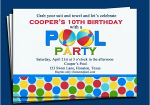 Birthday Invitations Free Shipping Pool Party Invitation Printable Or Printed With