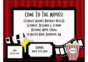 Birthday Invitations Movie Theme Party Invitation