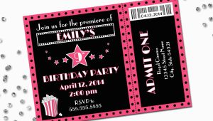 Birthday Invitations Movie theme Movie theme Birthday Party Invitation Pink and Black Diy