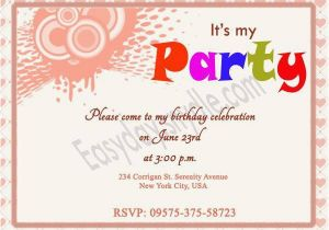 Birthday Invitations Via Text Message Invitation A Cake