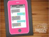 Birthday Invitations Via Text Message Printable Cell Phone Text Message Chalkboard Birthday