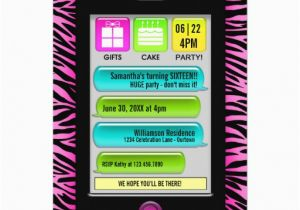 Birthday Invitations Via Text Message Sweet 16 Party 5 Quot X 7
