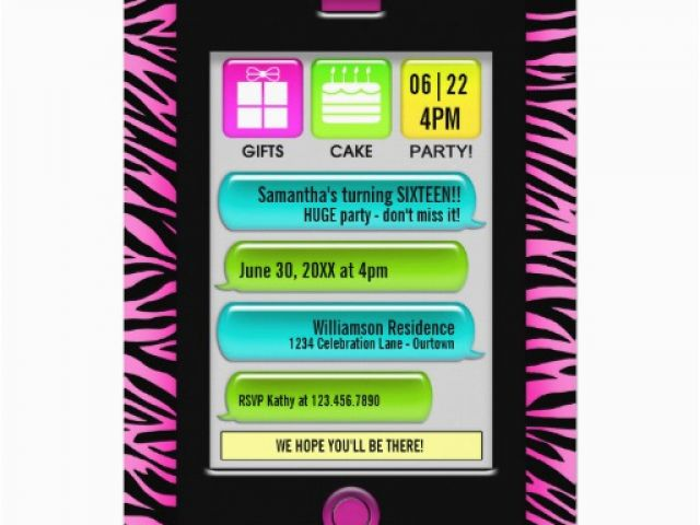 Birthday Invitations Via Text Message Sweet 16 Party