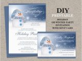 Birthday Invitations with Rsvp Cards Snowman Holiday Party Invitation with Rsvp Card Printable