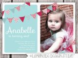 Birthday Invite for 2 Year Old First Birthday Invitation Bunting Flags Banner Photo Printable