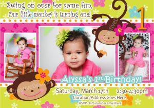 Birthday Invite for 2 Year Old Monkey Love Birthday Photo Invite 1 Year Old 2 Years Old