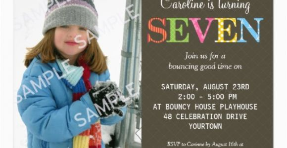 Birthday Invite Wording For 7 Year Old 7th Party Invitation Free