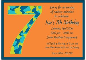 Birthday Invite Wording For 7 Year Old Boy Camo 7th Invitations Paperstyle