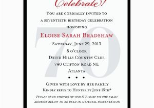 Birthday Party Invitation Message For Adults 3 Fantastic 70th Invitations Wording