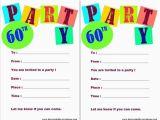 Birthday Party Invitations Free Printable Templates 20 Ideas 60th Birthday Party Invitations Card Templates