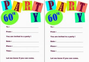 Birthday Party Invitations Free Printable Templates 20 Ideas 60th Card