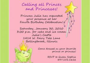 Birthday Party Poems For Invitations Princess Themed Invitation Wording First
