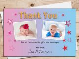 Birthday Thank You Cards with Photo 10 Personalised Boys Girls Twins Joint Christening Baptism