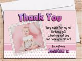 Birthday Thank You Cards with Photo 10 Personalised Girls 1st First Birthday Party Thank You