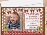 Birthday Thank You Cards with Photo 10 Personalised Teddy Bear Birthday Thank You Photo Cards