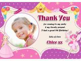 Birthday Thank You Cards with Photo Cute Little Thank You Card for Birthday Girl Photo Circle