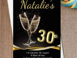 Black and Gold 30th Birthday Invitations 10 Personalised Black Gold Champagne Birthday Party