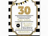 Black and Gold 30th Birthday Invitations 30th Birthday Invitation Black Gold Glitter Invitation