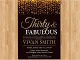 Black and Gold 30th Birthday Invitations 30th Birthday Invitation for Women Thirty and Fabulous