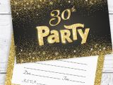 Black and Gold 30th Birthday Invitations Black and Gold Effect 30th Birthday Party Invitations
