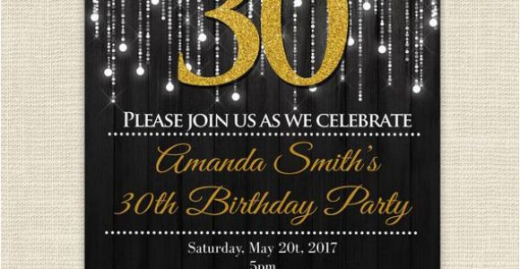 Black and Gold 30th Birthday Invitations Elegant 30th Birthday Party Gold and Black Glitter Lights