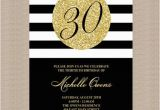 Black and Gold 30th Birthday Invitations Gold 30th Birthday Party Invitation Black and White by