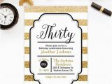 Black and Gold 30th Birthday Invitations Gold Glitter 30th Birthday Invitation Adult Birthday