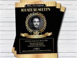 Black and Gold 30th Birthday Invitations Surprise 30th Birthday Photo Invitation Vintage Black Gold