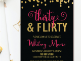Black and Gold 30th Birthday Invitations Thirty Flirty 30th Birthday Party Invitation Black