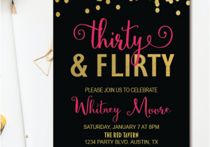 Black And Gold 30th Birthday Invitations Thirty Flirty Party Invitation