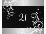 Black and Silver 21st Birthday Decorations 21st Birthday Party Black Silver White Floral Invitation