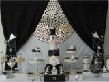 Black and Silver 21st Birthday Decorations events by Nat Runway Catwalk Black White Dessert Table