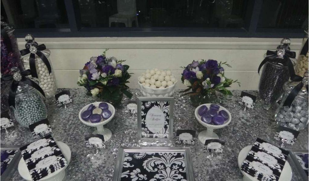 Black And Silver 21st Birthday Decorations Purple Black White And